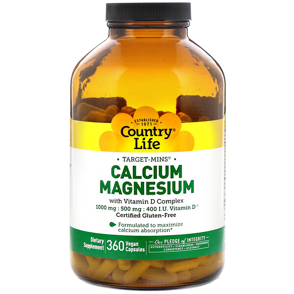 Country Life, Calcium Magnesium, with Vitamin D Complex, Gluten Free, 360 Vegan Capsules