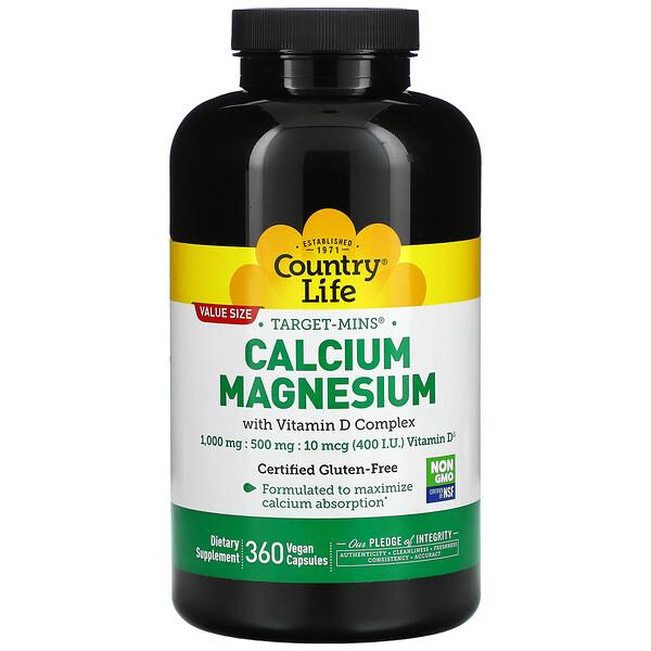 Target-Mins, кальций и магний с комплексом витаминаD, 360растительных капсул
