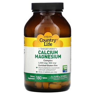 Country Life, Target-Mins Calcium-Magnesium Complex, 180 Tablets