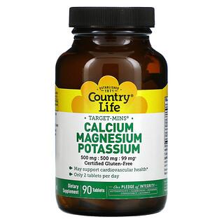 Country Life, Target-Mins, Calcium Magnesium Potassium, 90 Tablet