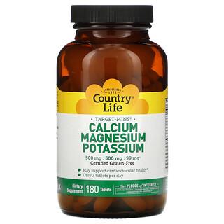 Country Life, Target-Mins Calcium, Magnesium, Potassium, 180 Tablets