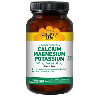 Country Life, Calcium, Magnesium, and Potassium, 500 mg : 500 mg : 99 mg, 180 Tablets