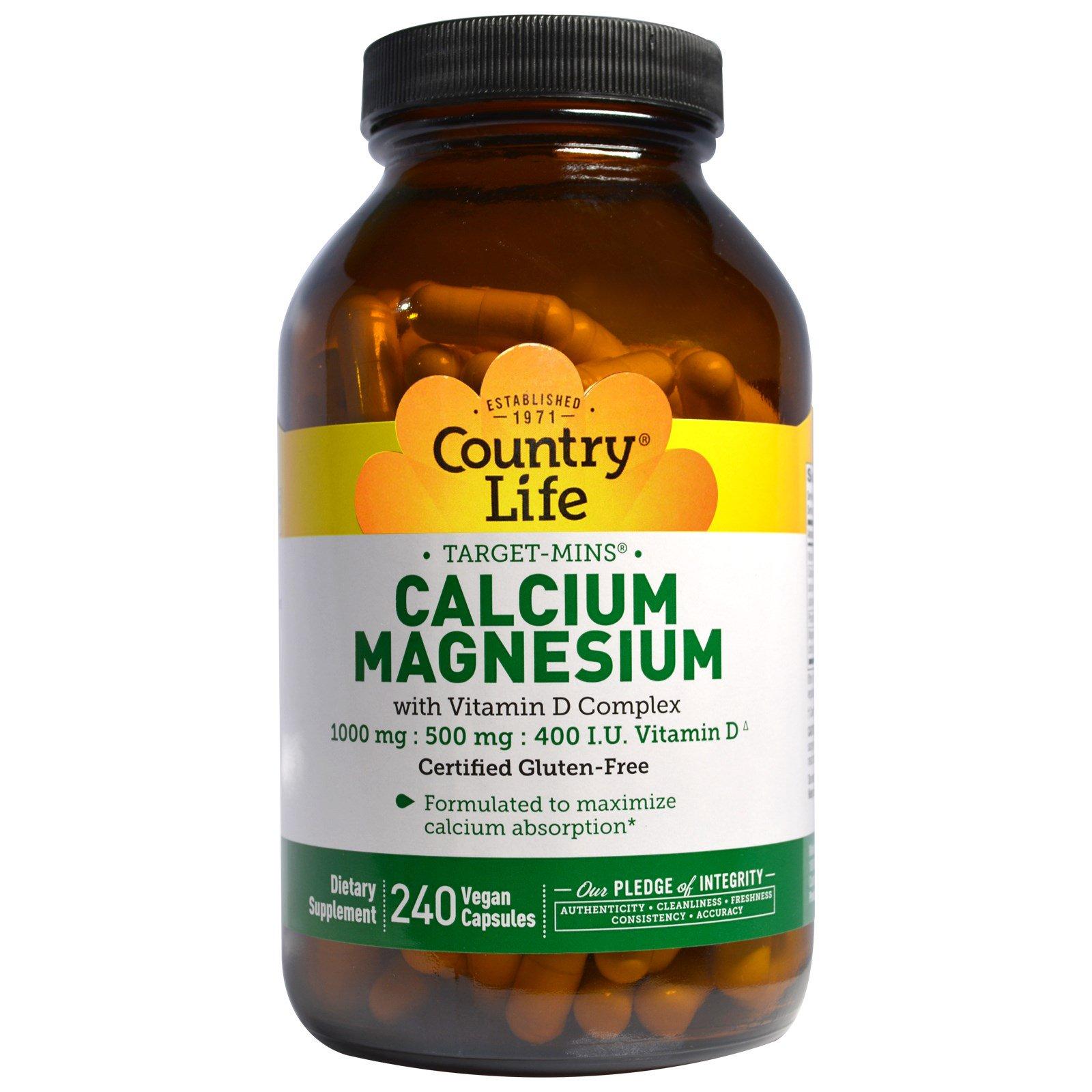 Country Life, Кальциево-магниевый комплекс с витамином D, 240 вегетарианских капсул