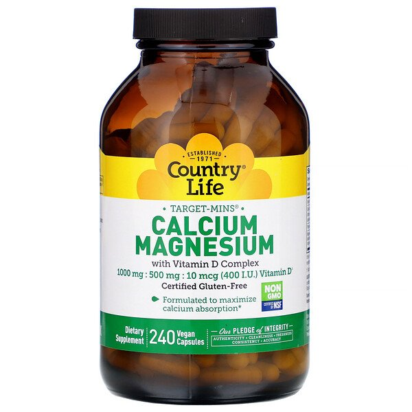 Country Life, Target-Mins Calcium Magnesium with Vitamin D Complex, 240 Vegan Capsules