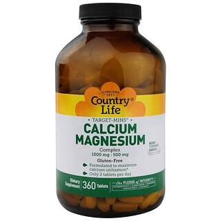 Country Life, Target-Mins, Calcium-Magnesium Complex, 360 Tablets