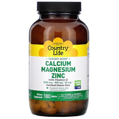Country Life Target-Mins, Calcium Magnesium Zinc with Vitamin D, 180 Tablets