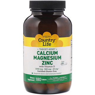 Country Life, Target-Mins, Calcium Magnesium Zinc, 1000 mg / 500 mg / 25 mg, 180 Tablets