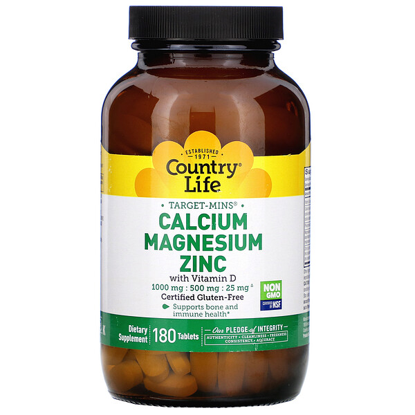 Target-Mins Calcium Magnesium Zinc with Vitamin D, 180 Tablets