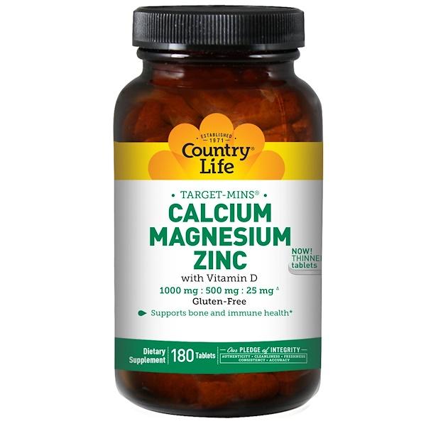 Country Life, Target-Mins, Calcium Magnesium Zinc, 180 Tablets