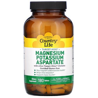 Купить Country Life Аспартат магния-калия, 180 таблеток