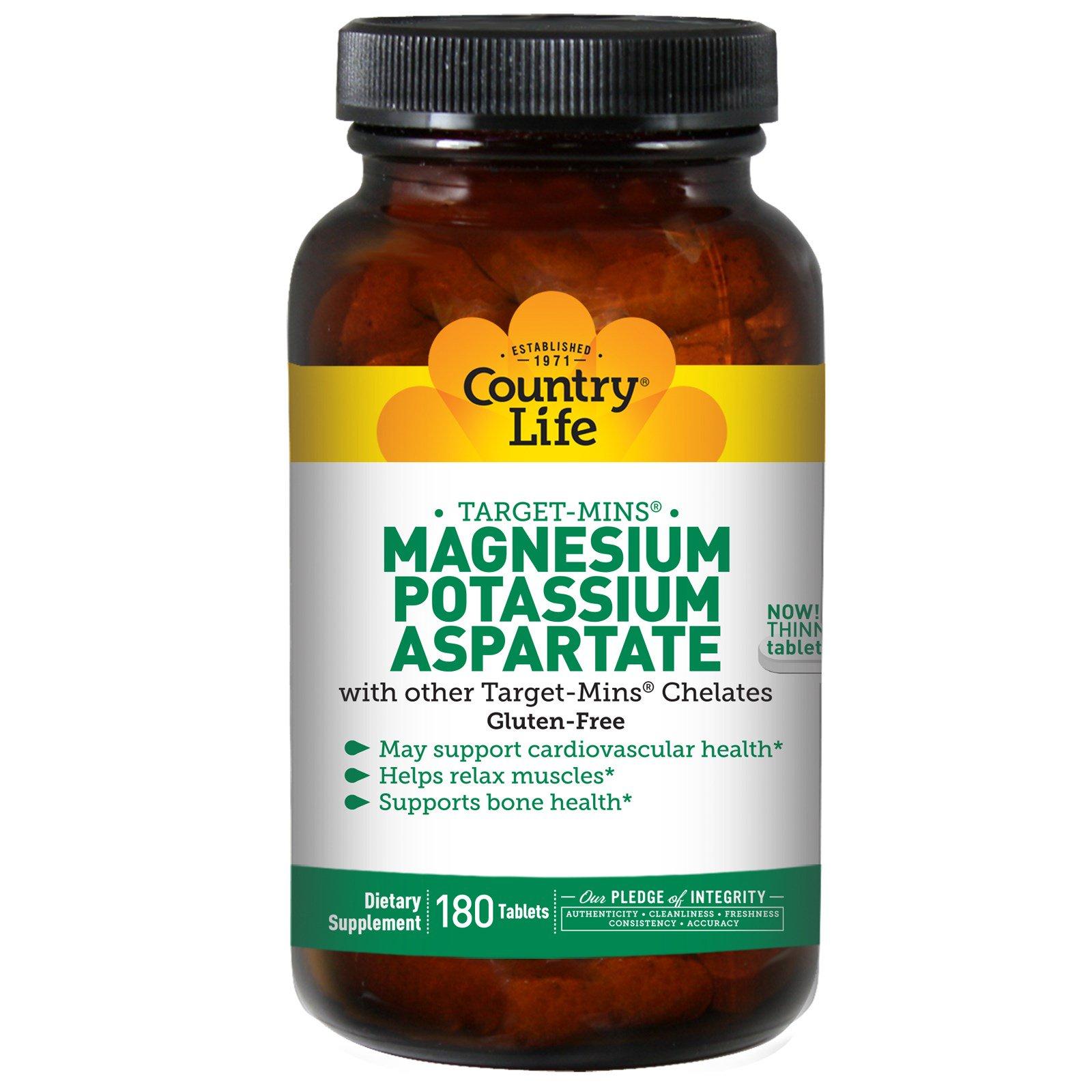 Country Life, Аспартат магния и калия, 180 таблеток