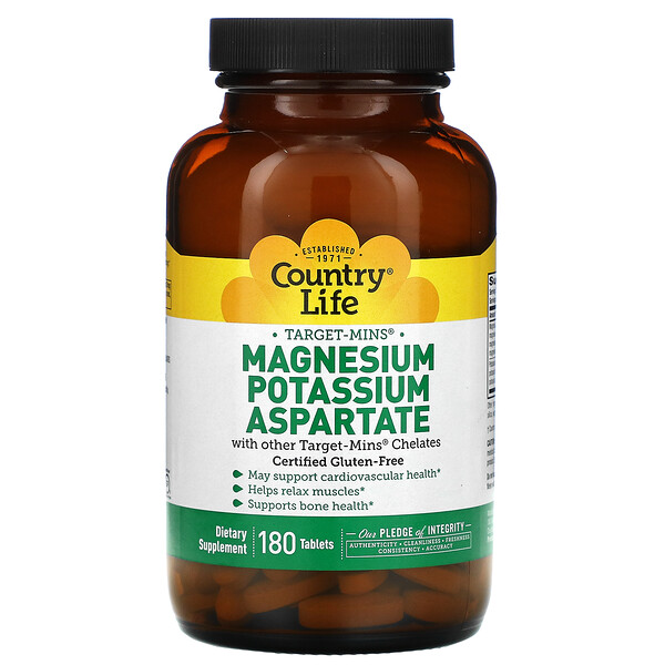 Country Life, Target-Mins Magnesium Potassium Aspartate, 180 Tablets