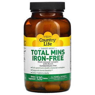 Country Life, Target-Mins Total Mins, Iron-Free, 120 Tablets