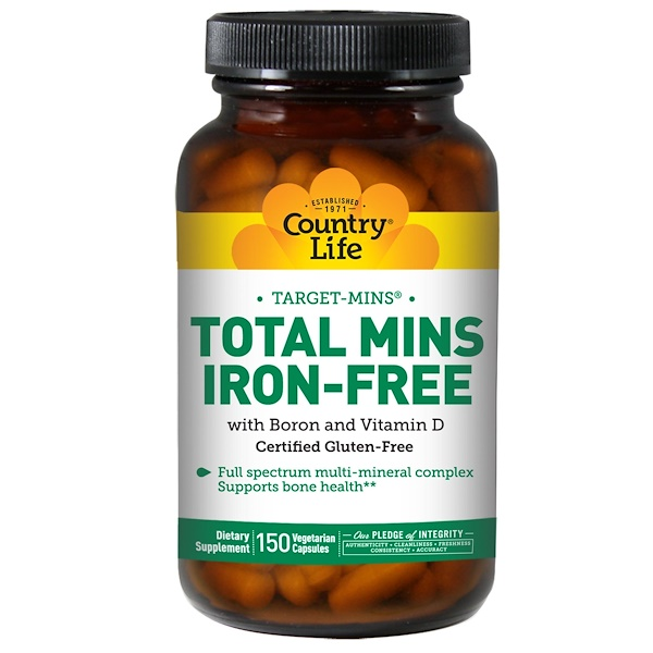Country Life, Total Mins Iron-Free, 150 Veggie Caps