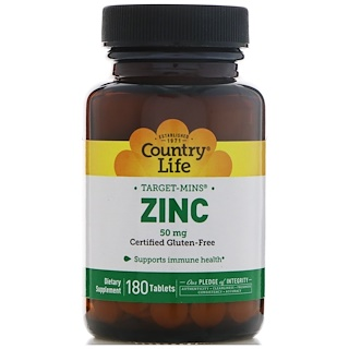 Country Life, Zinc, 50 mg, 180 Tablets