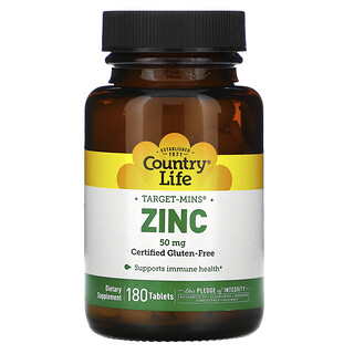 Country Life, Target-Mins Zinc, 50 mg, 180 Tablets