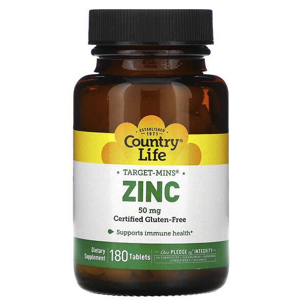 Country Life, Target-Mins Zinc, 50 mg, 180 Tablets
