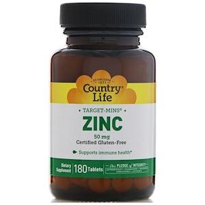 Country Life, Цинк, 50 мг, 180 таблеток инструкция, применение, состав, противопоказания