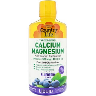 Country Life, Liquid Calcium Magnesium, Blueberry Flavor, 32 fl oz (944 ml)