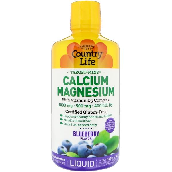 Country Life, Liquid Calcium Magnesium, Blueberry Flavor, 32 fl oz (944 ml) (Discontinued Item)