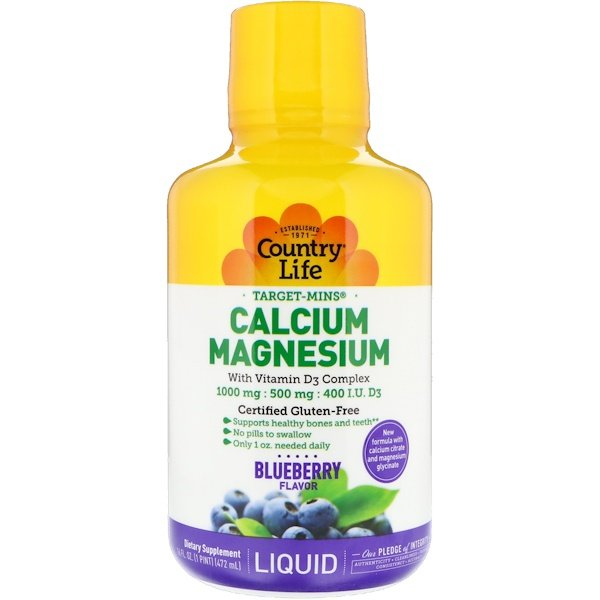 Country Life, Liquid Calcium Magnesium, Blueberry, 16 fl oz (472 ml)
