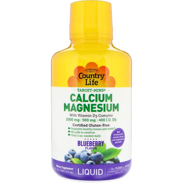 Country Life, Liquid Calcium Magnesium, Blueberry Flavor, 16 fl oz (472 ml)