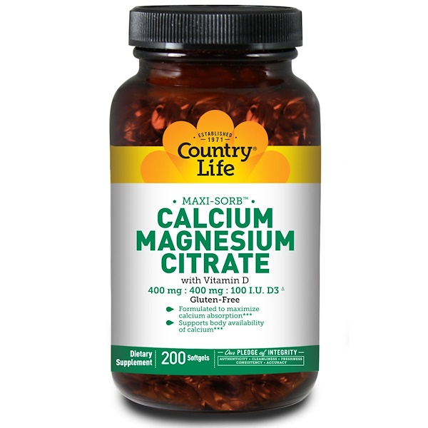 Country Life, Calcium Magnesium Citrate, 200 Softgels (Discontinued Item)