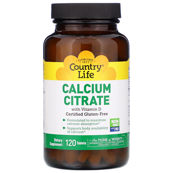 Country Life, Calcium Citrate with Vitamin D, 120 Tablets