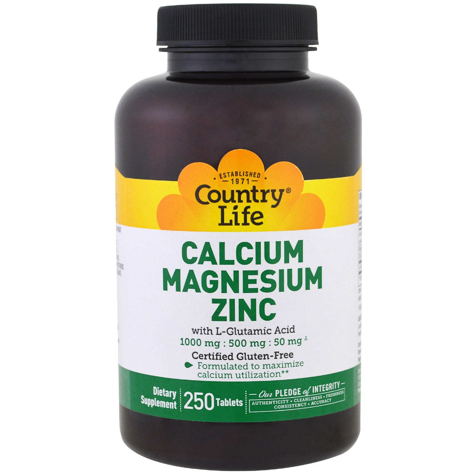 Country Life, Кальций, магний и цинк, 250 таблеток