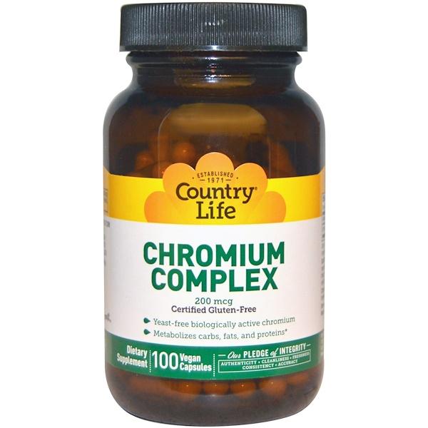Country Life, Chromium Complex, 200 mcg, 100 Vegan Caps (Discontinued Item)