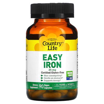 Купить Country Life Железо в легкоусвояемой форме, 25 мг, 90 растительных капсул