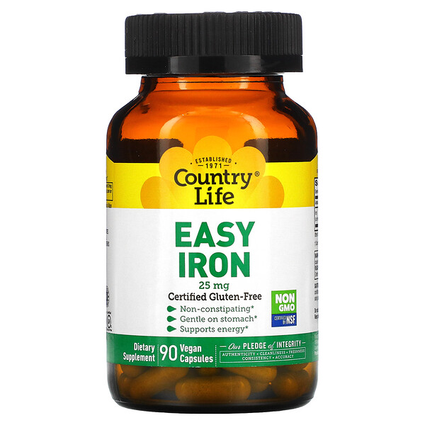 Country Life, Easy Iron, 25 mg, 90 Vegan Capsules