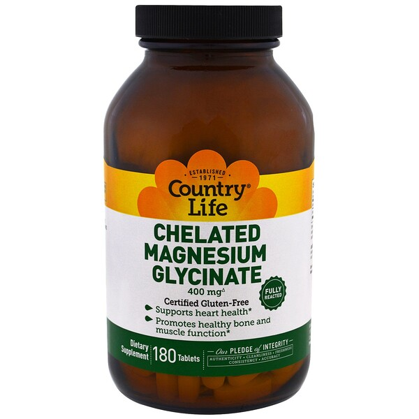 Country Life, Chelated Magnesium Glycinate, 400mg, 180 Tablets