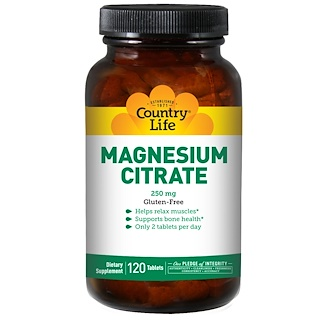 Country Life, Magnesium Citrate, 250 mg, 120 Tablets