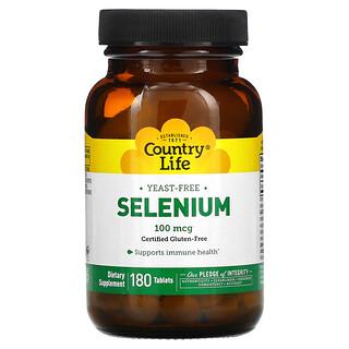 Country Life, Selenium, 100 mcg, 180 Tablets