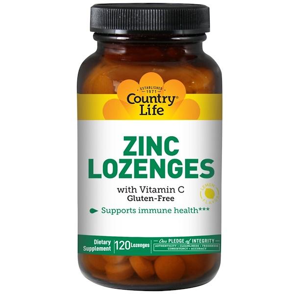 Country Life, Zinc Lozenges, With Vitamin C, Lemon Flavor, 120 Lozenges (Discontinued Item)