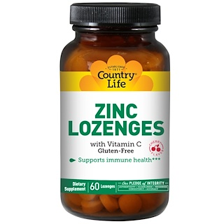 Country Life, Zinc Lozenges, with Vitamin C, Cherry Flavor, 60 Lozenges