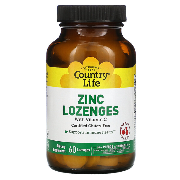 Zinc Lozenges with Vitamin C, Cherry, 60 Lozenges
