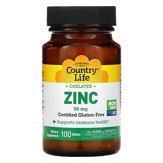 Country Life, Zinco Quelado, 50 mg, 100 Comprimidos