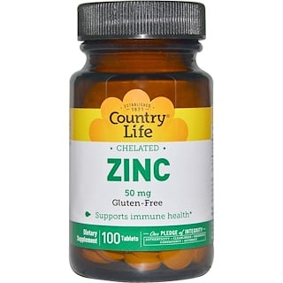 Country Life, Zinc, Chelated, 50 mg, 100 Tablets