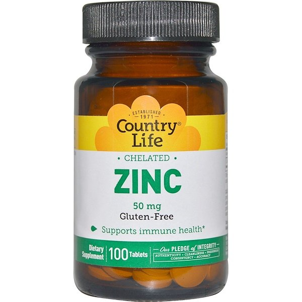 Chelated Zinc, 50 mg, 100 Tablets