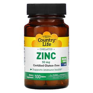 Кантри Лайф, Chelated Zinc, 50 mg, 100 Tablets отзывы
