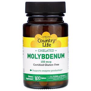Кантри Лайф, Chelated Molybdenum, 150 mcg, 100 Tablets отзывы покупателей