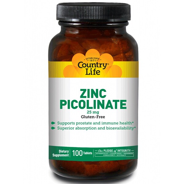 Country Life, Picolinate de zinc, 25 mg, 100 comprimés