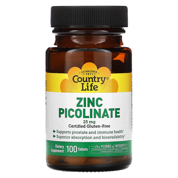Country Life, Zinc Picolinate، 25 مجم، 100 قرص