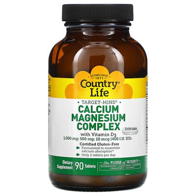 Country Life Calcium Magnesium Complex with Vitamin D3, 90 Tablets
