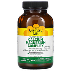 Country Life, Target-Mins® 鈣鎂混合維生素 D 營養片,90 片