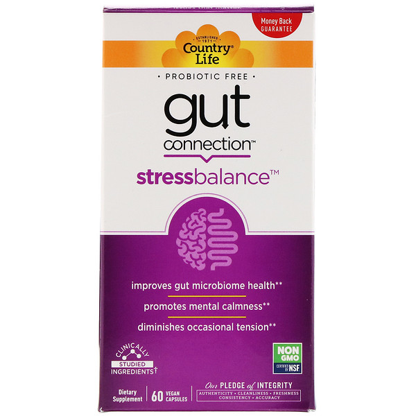 Country Life, Gut Connection, Stress Balance, 60 Vegan Capsules (Discontinued Item)