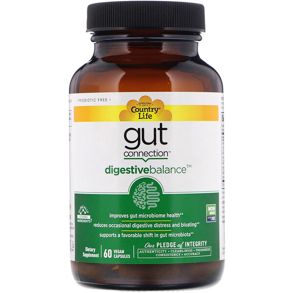 Country Life, Gut Connection, Digestive Balance, 60 Vegan Capsules