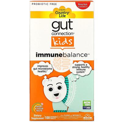 Купить Country Life Gut Connection Kids, средство для укрепления иммунитета, кисло-сладкий вкус, 100жевательных таблеток